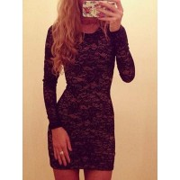 Stylish Long Sleeve Scoop Neck Lace Mini Dress For Women black white