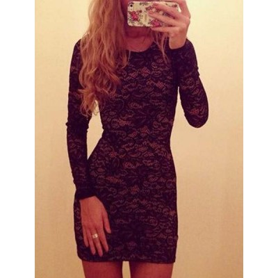 Stylish Long Sleeve Scoop Neck Lace Mini Dress For Women black white