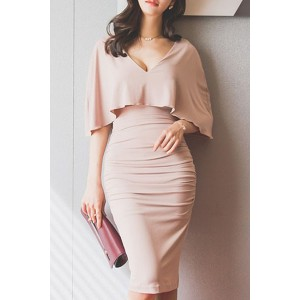 Stylish Plunging Neck Bodycon Ruched Cape Dress For Women pink