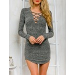 Stylish Plunging Neck Long Sleeve Criss-Cross Sweater Dress For Women grey