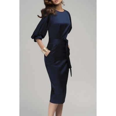Stylish Round Collar 3/4 Sleeve Pure Color Pocket Design Dress For Women blue