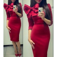 Stylish Round Collar 3/4 Sleeve Solid Color Bowknot Design Dress For Women red