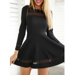 Stylish Round Neck Long Sleeve A-Line Voile Spliced Dress For Women black