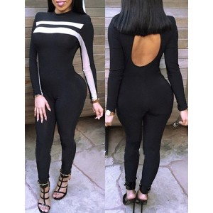 Stylish Round Neck Long Sleeve Spliced Cut Out Jumpsuit For Women black