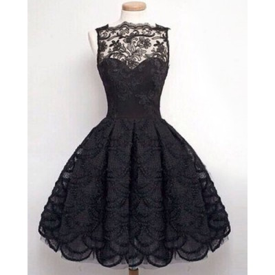 Stylish Round Neck Sleeveless Solid Color Hollow Out Lace Dress For Women