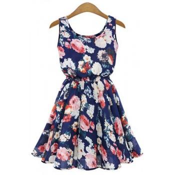 Stylish Scoop Collar Sleeveless Floral Print A-Line Chiffon Dress For Women