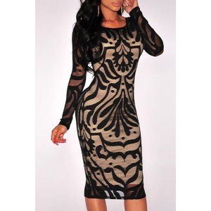 Stylish Scoop Neck Long Sleeve Floral Print Bodycon Dress For Women black white
