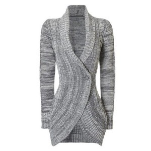 Stylish Shawl Collar Long Sleeve Slimming Cable Cardigan For Women gray