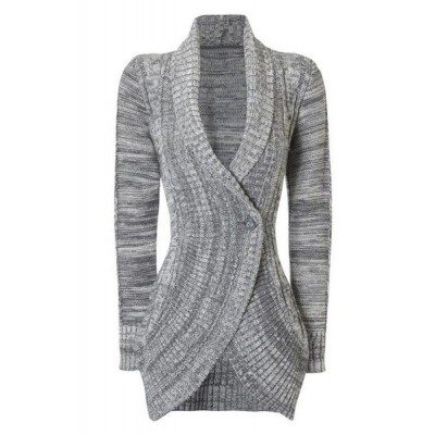 Stylish Shawl Collar Long Sleeve Slimming Cable Cardigan For Women gray