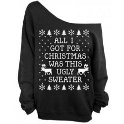 Stylish Skew Neck Snowflake and Elk Print Christmas Sweatshirt For Women  BLACK, GREEN, RED, ROSE