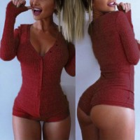 Stylish Solid Color V-Neck Long Sleeve Sheathy Knitted Bodysuit For Women BLACK, DEEP RED, GREEN, PINK