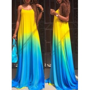 Stylish Spaghetti Strap Sleeveless Ombre Maxi Dress For Women