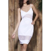 Stylish Striped Spaghetti Strap Bodycon Dress For Women