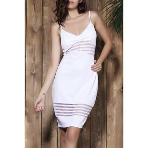 Stylish Striped Spaghetti Strap Bodycon Dress For Women