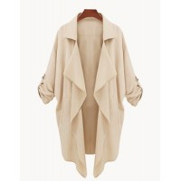 Stylish Turn-Down Collar 3/4 Sleeve Asymmetrical Chiffon Coat For Women CADETBLUE, KHAKI