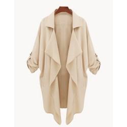 Stylish Turn-Down Collar 3/4 Sleeve Asymmetrical Chiffon Coat For Women CADETBLUE, KHAKI