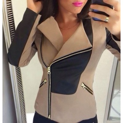 Stylish Turn-Down Collar Long Sleeve Color Block Slimming Jacket For Women black brown