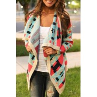 Stylish Turn-Down Collar Long Sleeve Print Coat For Women red