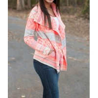 Stylish Turn-Down Collar Long Sleeve Printed Pocket Design Cardigan For Women pink