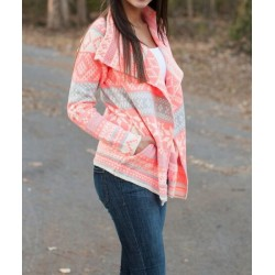 Stylish Turn-Down Collar Long Sleeve Printed Pocket Design Cardigan For Women pink