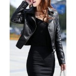 Stylish Turn-Down Collar Long Sleeve PU Zippered Jacket For Women black