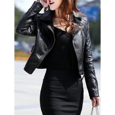 Stylish Turn-Down Collar Long Sleeve PU Zippered Jacket For Women black
