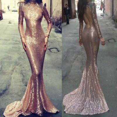 Stylish Turtle Neck Long Sleeve Backless Mermaid Dress For Women gold