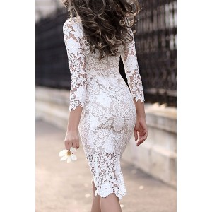 Stylish Women's Lace Cut Out Over Hip 3/4 Sleeve Pure Color Dress white