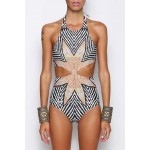 Stylish Zig Zag Halter One-Piece Swimsuit For Women