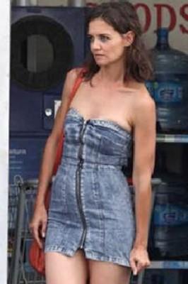 Super Short Zip Front Strapless Denim Dress
