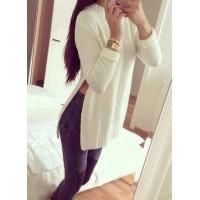 Sweet Round Neck Waist Slit White Sweater For Women white