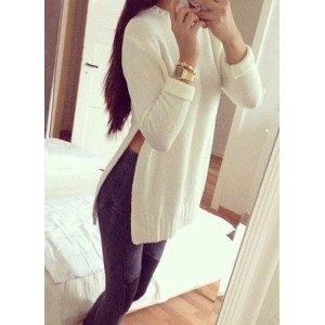 Sweet Round Neck Waist Slit White Sweater For Women white