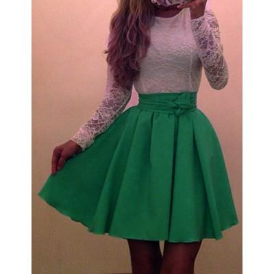 Sweet Scoop Neck Long Sleeve Color Block Dress For Women green purple