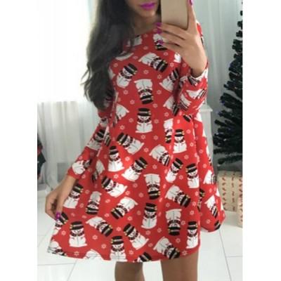 Sweet Style Jewel Neck Long Sleeve Snowman Print Christmas Dress For Women red