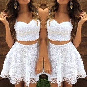 Sweetheart Neck Sleeveless Short Lace Tank Top and Skirt Stylish Suit For Women white