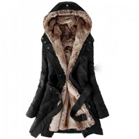 Thickened Lined Waistband Beam Waist Pockets Korean Style Cotton Solid Color Coat For Women