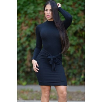 Tie Front Long Sleeve Casual Mini Dress Blue Red Black