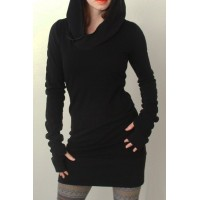 Trendy Hooded Finger Hollow Out Long Sleeve Black Bodycon Dress For Women black