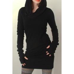 Trendy Hooded Finger Hollow Out Long Sleeve Black Bodycon Dress For Women black