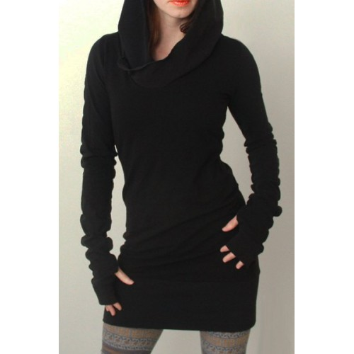 Trendy Hooded Finger Hollow Out Long Sleeve Black Bodycon Dress For