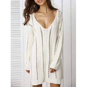 Trendy Plunge Neck Crochet Long Sleeve Sweater Dress