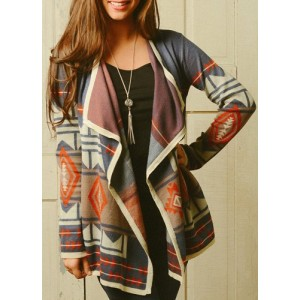 Trendy Turn-Down Neck Long Sleeve Geometric Pattern Cardigan For Women