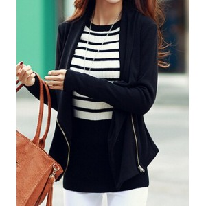 Trendy Women's Turn-Down Collar Long Sleeve Zippered Coat black gray