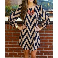 Trendy Zigzag Printed Color Block Dress For Women