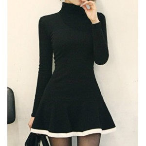 Turtleneck Long Sleeves Color Splicing Flounce Stylish Dress For Women black