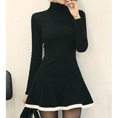 Turtleneck Long Sleeves Color Splicing Flounce Stylish Dress For Women black
