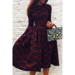 Vintage Long Sleeve Rhombus Print High Waist Ball Gown Dress For Women red black