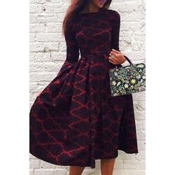 Vintage Long Sleeve Rhombus Print High Waist Ball Gown Dress For Women red black