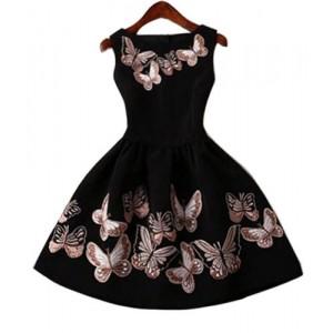 Vintage Round Collar Sleeveless Butterflies Print Ball Gown Dress For Women