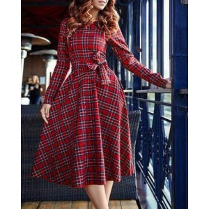 Vintage Round Neck Long Sleeve Plaid Women's Self-Tie Dress